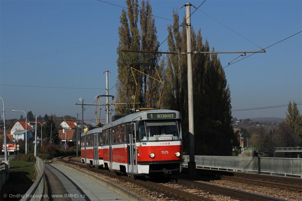 Fotogalerie » ČKD Tatra T3M 1575 | ČKD Tatra T3M 1580 | Brno | Bystrc | Obvodová