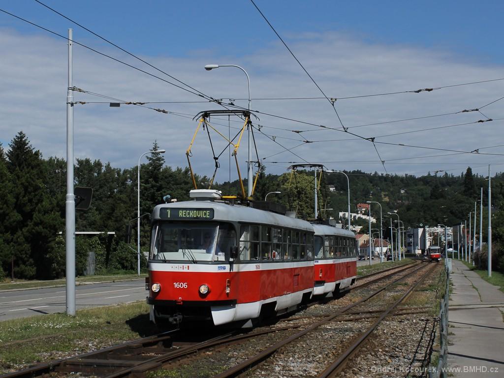 Fotogalerie » ČKD Tatra T3G 1606 | ČKD Tatra T3G 1608 | Brno | Komín | Kníničská