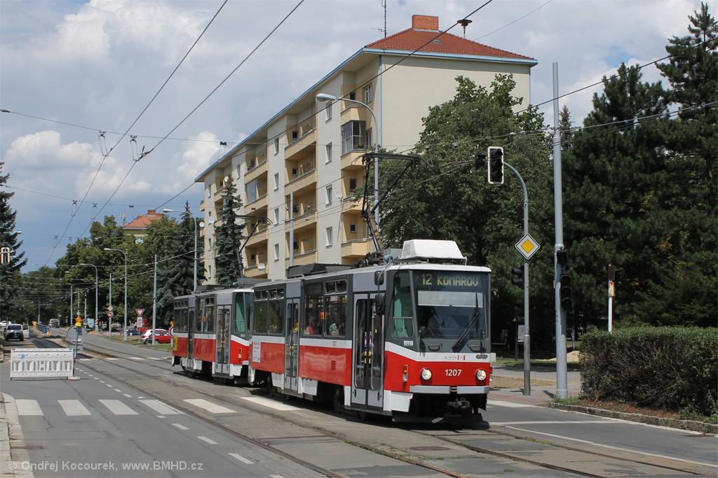 Fotogalerie » ČKD DS T6A5 1207 | ČKD DS T6A5 1208 | Brno | Veveří | Kounicova