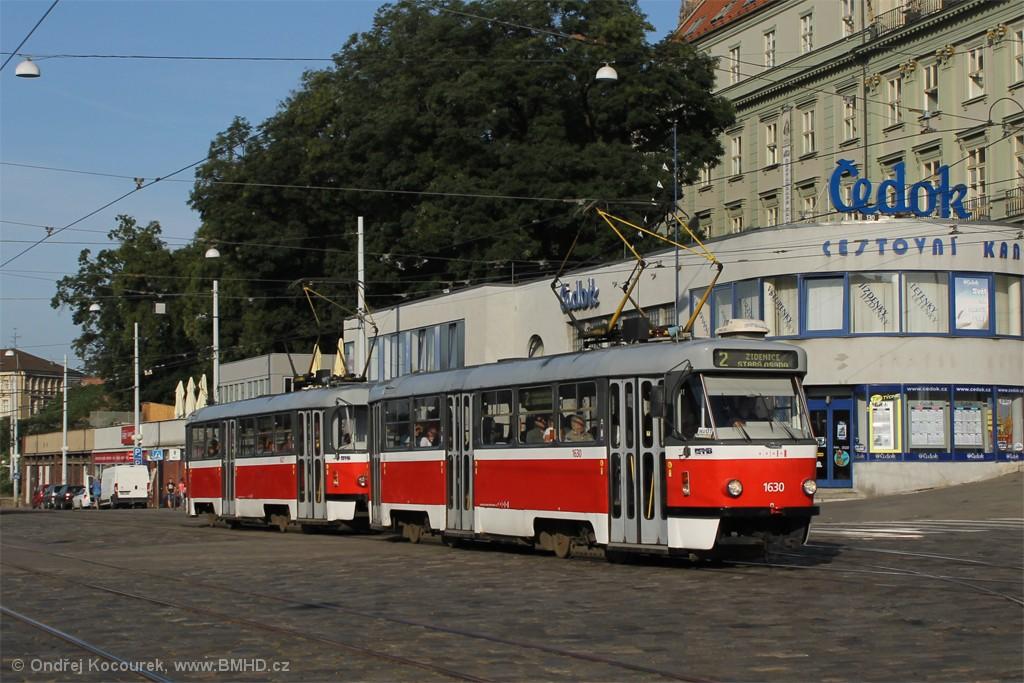 Fotogalerie » ČKD Tatra T3T 1630 | ČKD Tatra T3T 1627 | Brno | střed | Nádražní