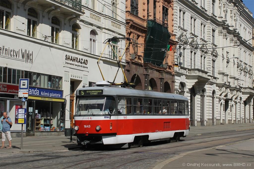 Fotogalerie » ČKD Tatra T3G 1643   Brno   střed   Malinovského náměstí   Malinovského náměstí