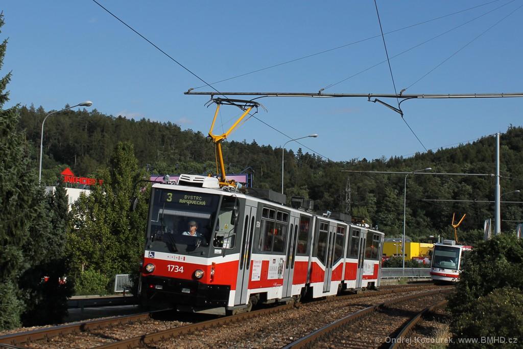 Fotogalerie » ČKD Tatra KT8D5N 1734 | Brno | Komín | Kníničská
