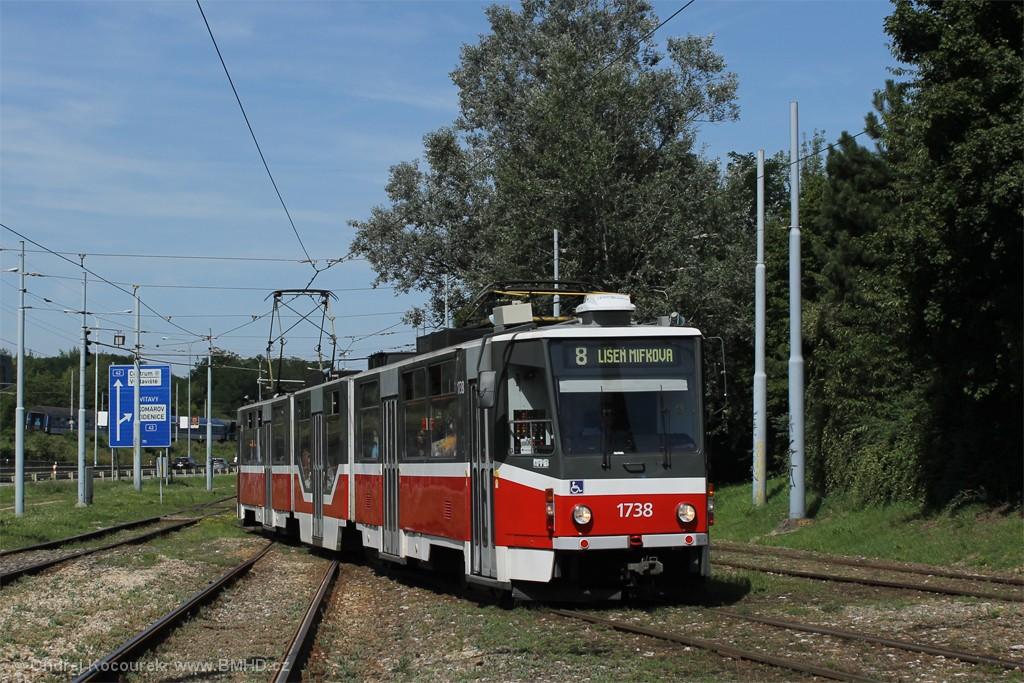 Fotogalerie » ČKD Tatra KT8D5R.N2 1738 | Brno | Židenice | Ostravská