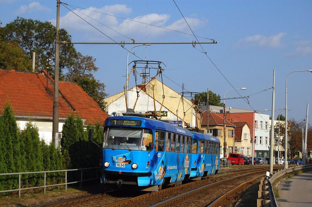 Fotogalerie » ČKD Tatra T3G 1634 | ČKD Tatra T3G 1616 | Brno | Komín | Kníničská