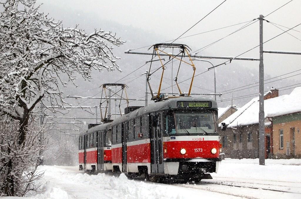 Fotogalerie » ČKD Tatra T3M 1573 | ČKD Tatra T3M 1580 | Brno | Komín | Bystrcká