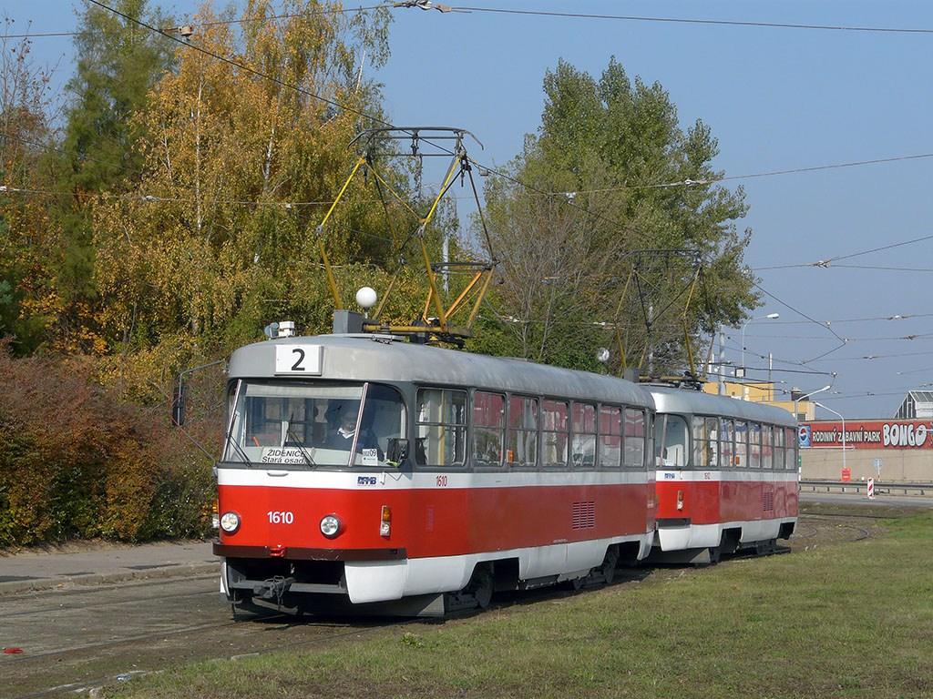 Fotogalerie » ČKD Tatra T3G 1610 | ČKD Tatra T3G 1612 | Brno | Horní Heršpice | Ústřední hřbitov, smyčka