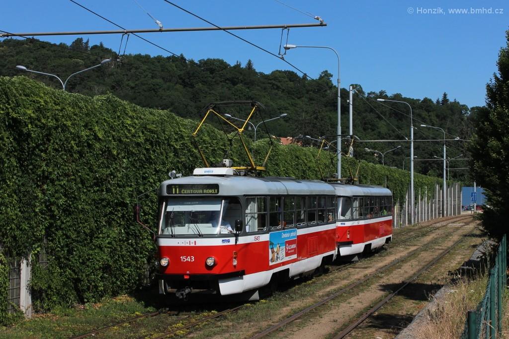 Fotogalerie » ČKD Tatra T3P 1543   ČKD Tatra T3P 1587   Brno   Pisárky   Žabovřeská