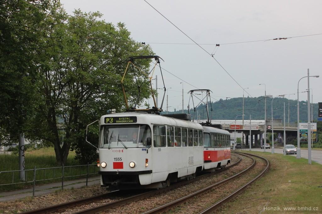 Fotogalerie » ČKD Tatra T3M 1555 | ČKD Tatra T3M 1582 | Brno | Komín | Kníničská