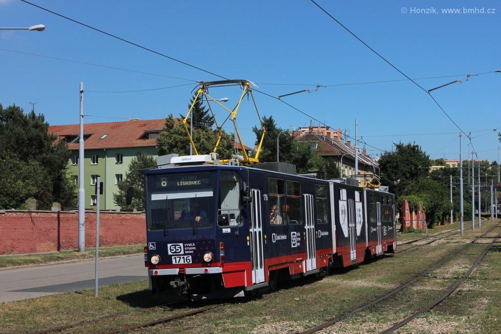 Fotogalerie » ČKD Tatra KT8D5R.N2 1716   Brno   Židenice   Nezamyslova