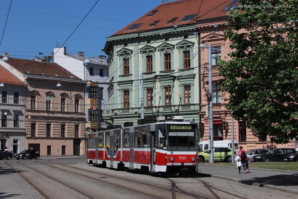 Fotogalerie » ČKD Tatra KT8D5R.N2 1723   Brno   střed   Joštova   Komenského Náměstí