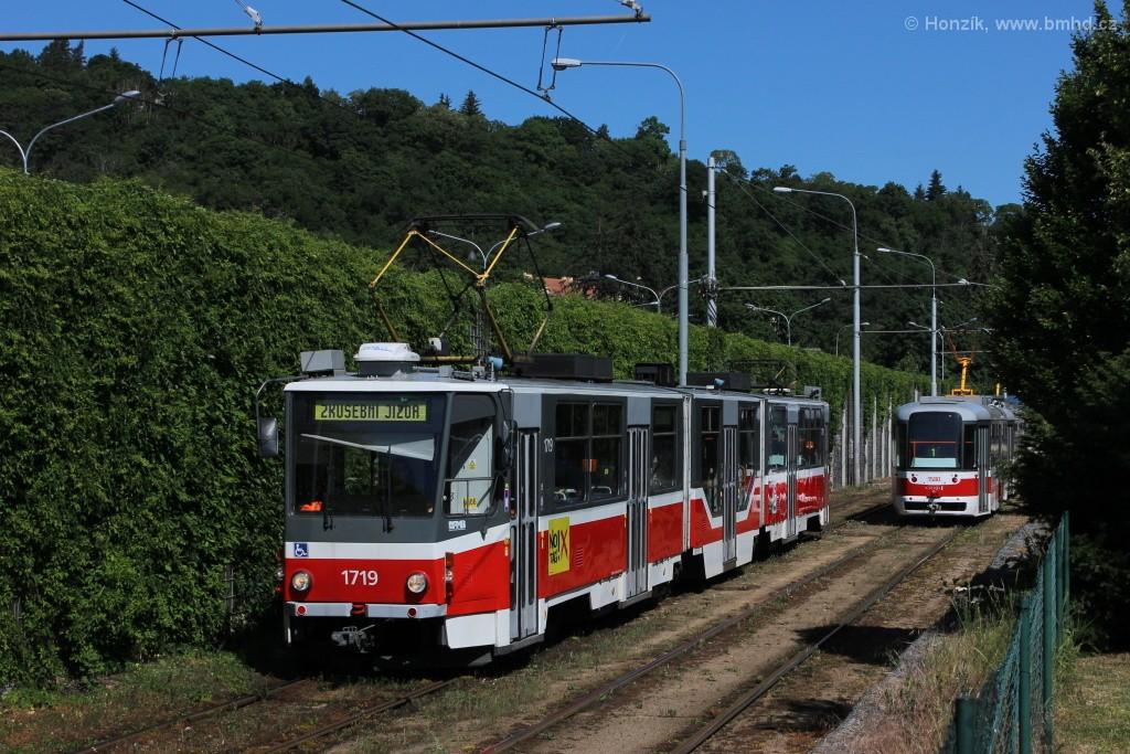 Fotogalerie » ČKD Tatra KT8D5R.N2 1719 | Brno | Pisárky | Žabovřeská