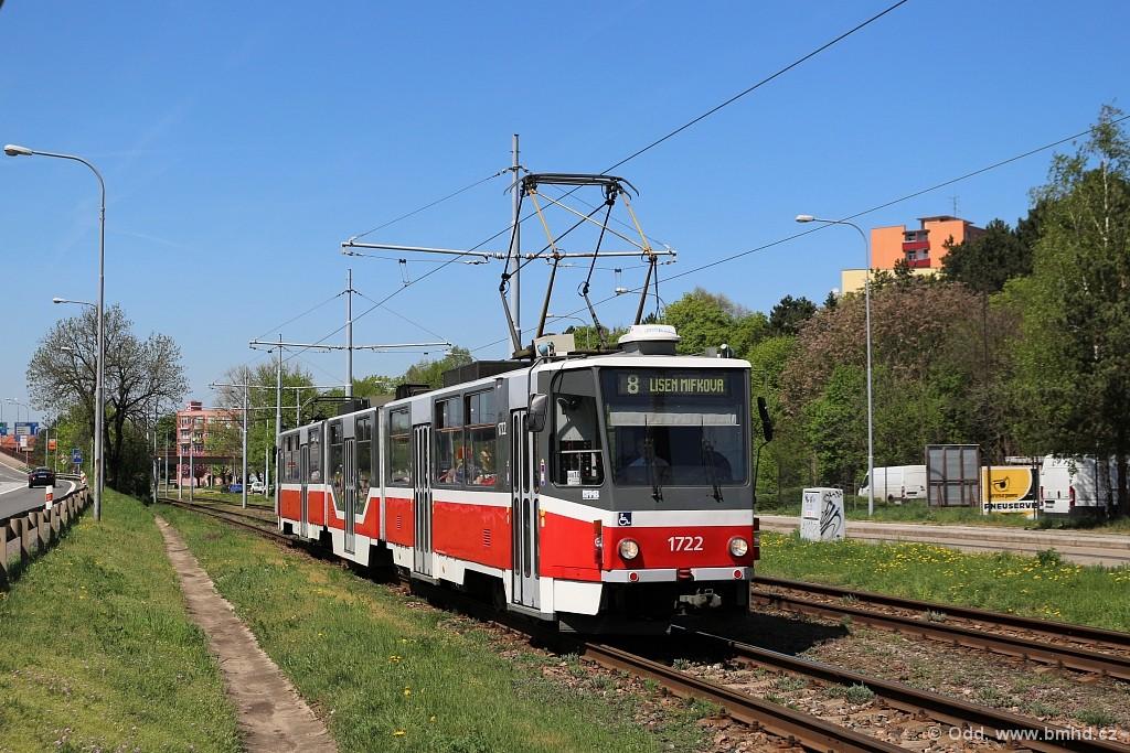 Fotogalerie » ČKD Tatra KT8D5R.N2 1722 | Brno | Juliánov | Pod sídlištěm