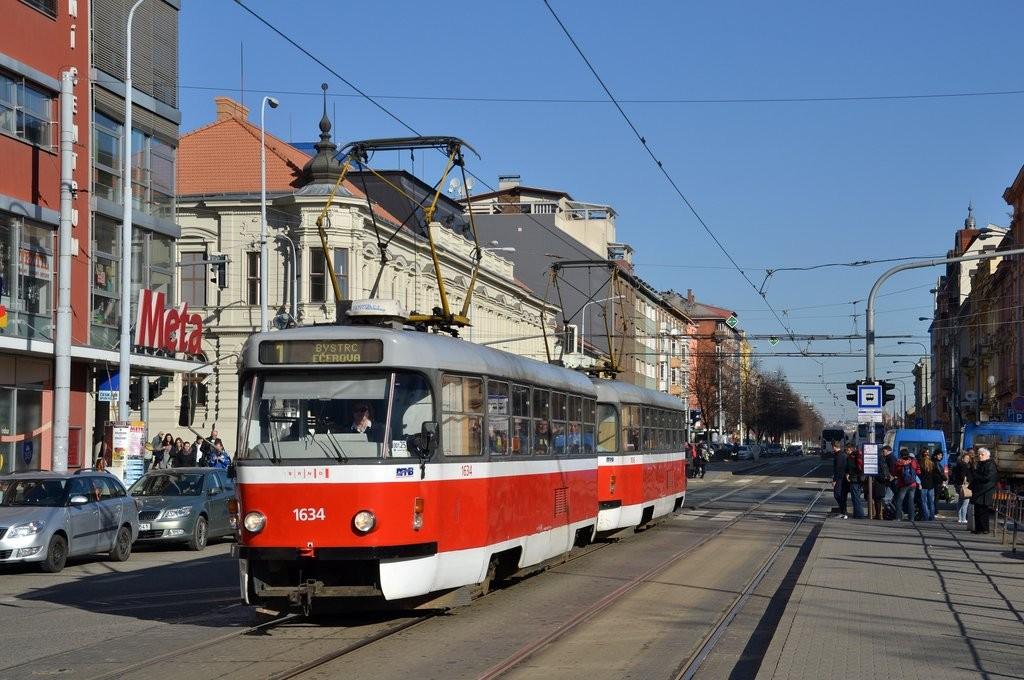 Fotogalerie » ČKD Tatra T3G 1634 | ČKD Tatra T3G 1616 | Brno | střed | Lidická | Pionýrská