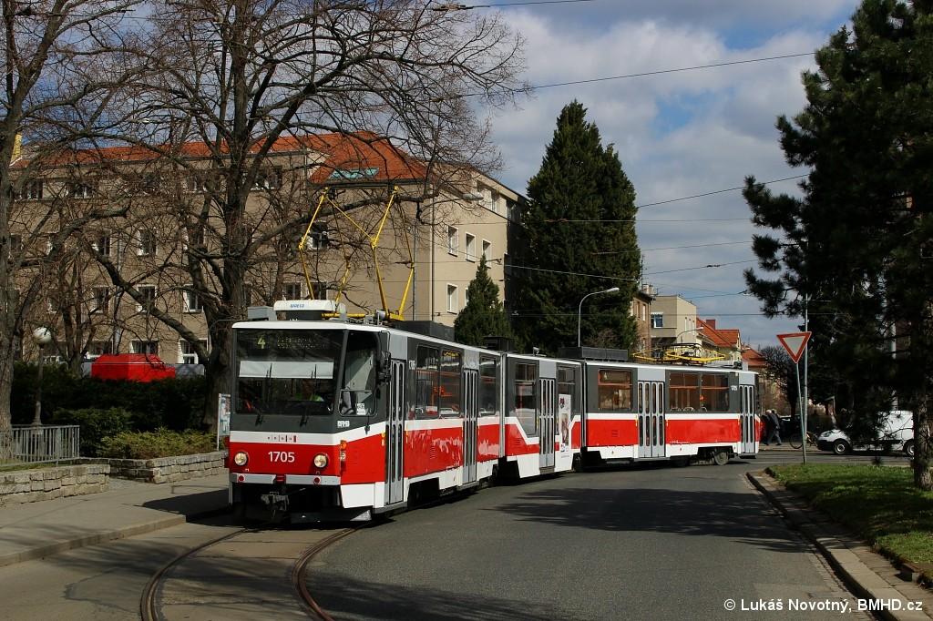Fotogalerie » ČKD Tatra KT8D5R.N2 1705 | Brno | Černá Pole | Zemědělská | Zemědělská, smyčka