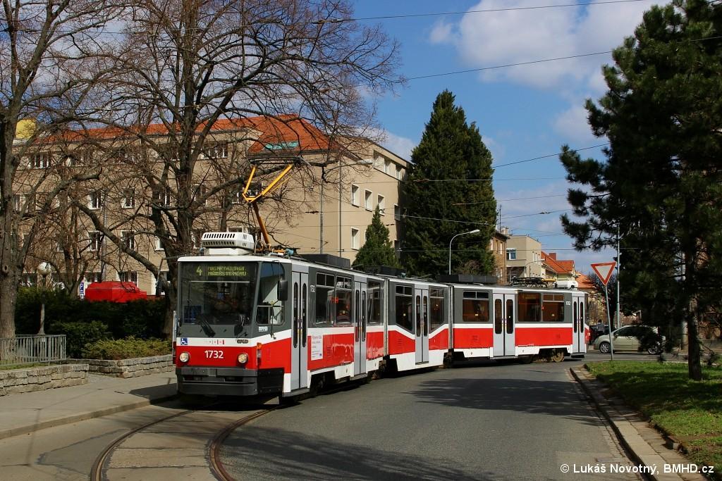 Fotogalerie » ČKD Tatra KT8D5N 1732 | Brno | Černá Pole | Zemědělská | Zemědělská, smyčka