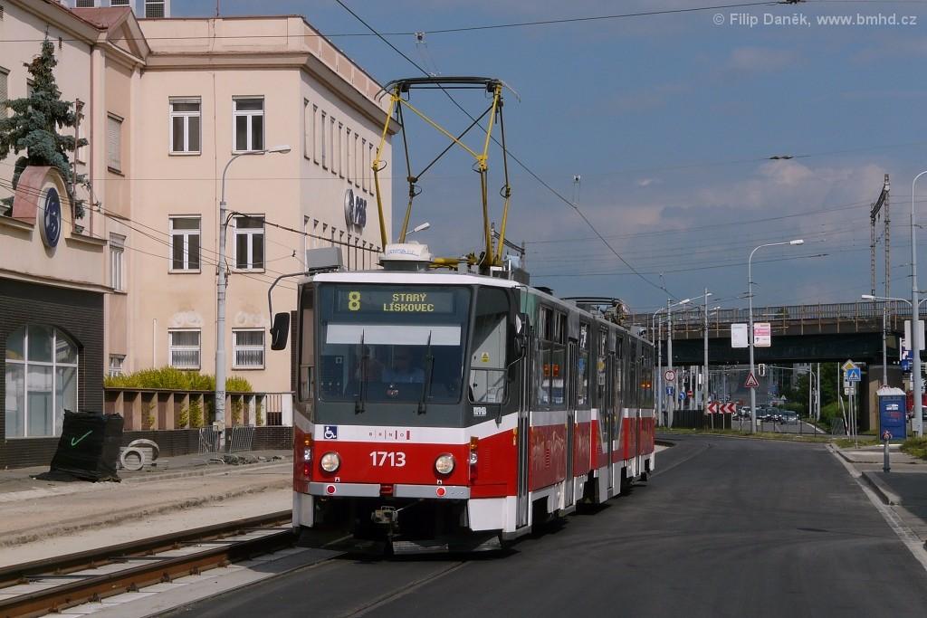 Fotogalerie » ČKD Tatra KT8D5R.N2 1713   Brno   Černovice   Olomoucká