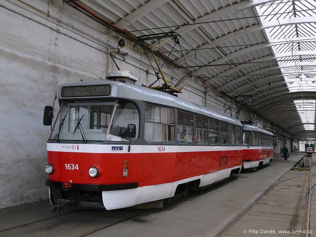Fotogalerie » ČKD Tatra T3G 1634 | ČKD Tatra T3G 1616 | Brno | vozovna Medlánky
