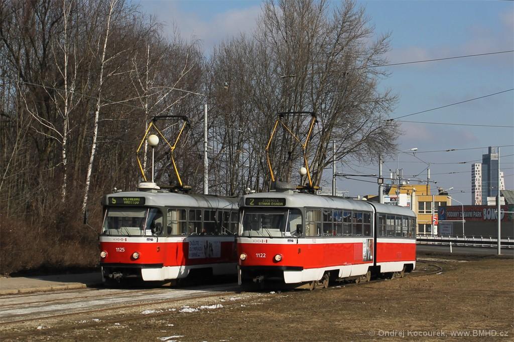 Fotogalerie » ČKD Tatra K2 1122 | ČKD Tatra K2 1125 | Brno | Horní Heršpice | Ústřední hřbitov, smyčka