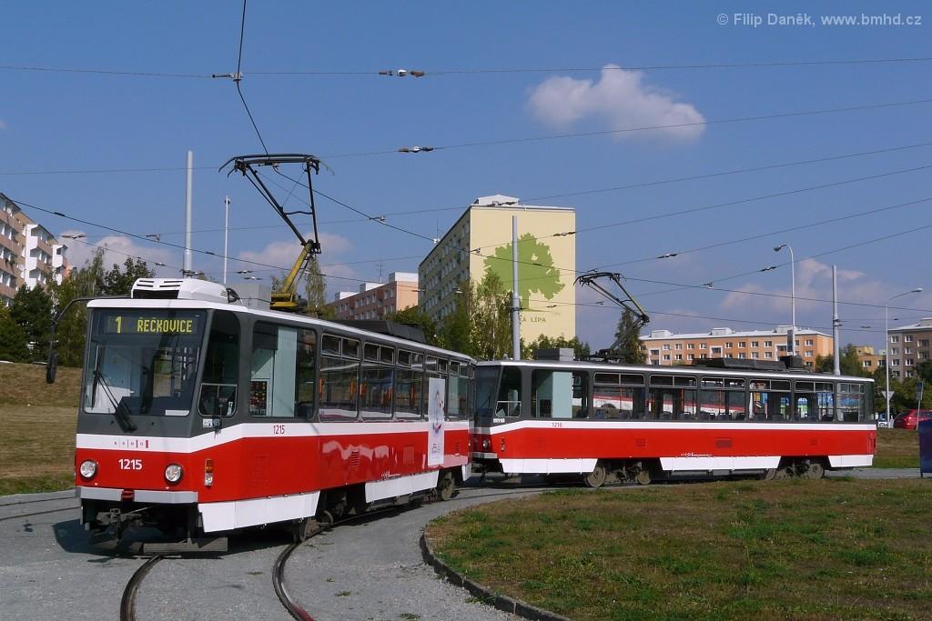 Fotogalerie » ČKD DS T6A5 1215 | ČKD DS T6A5 1216 | Brno | Bystrc | Ečerova, smyčka