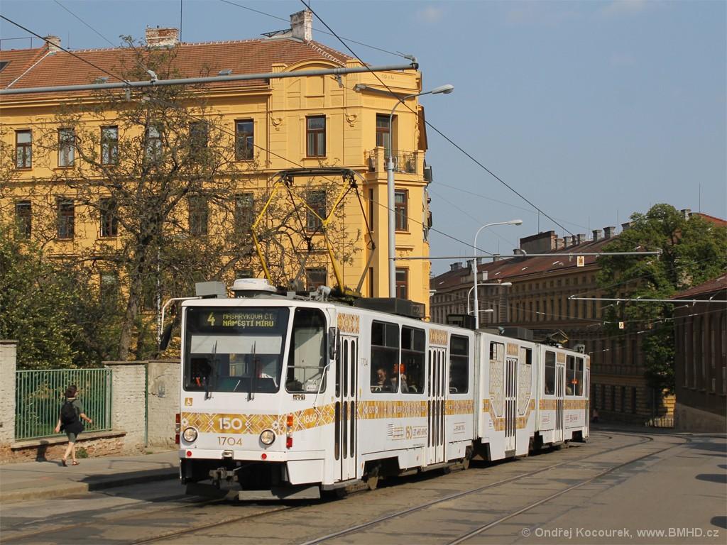 Fotogalerie » ČKD Tatra KT8D5R.N2 1704 | Brno | Veveří | Údolní