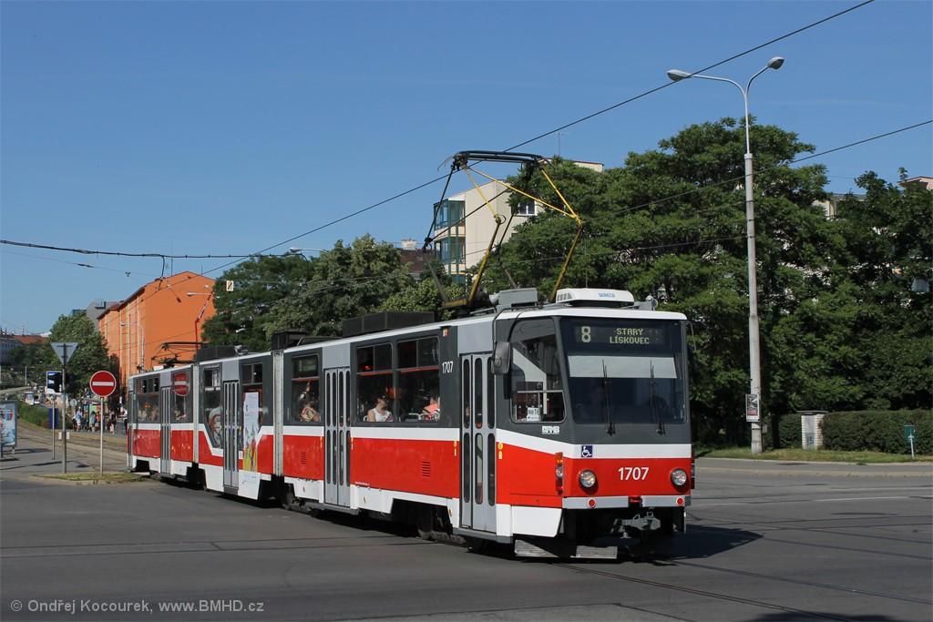 Fotogalerie » ČKD Tatra KT8D5R.N2 1707 | Brno | Štýřice | Renneská