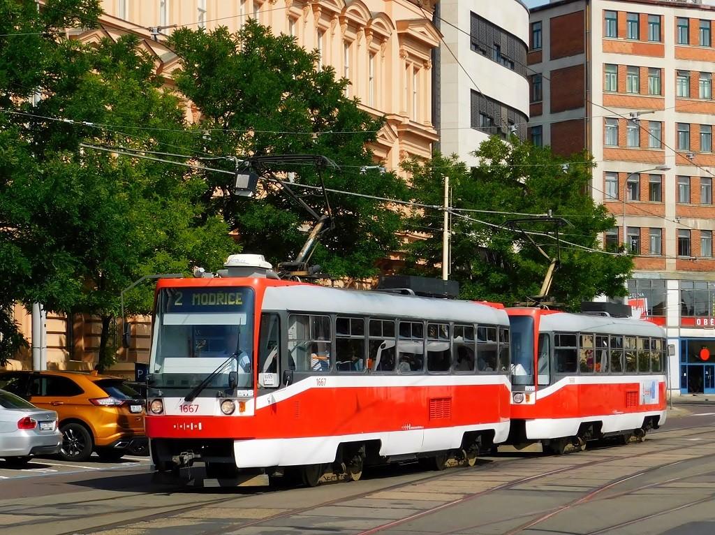 Fotogalerie » ČKD DS T3R 1667 | ČKD DS T3R 1668 | Brno | střed | Benešova