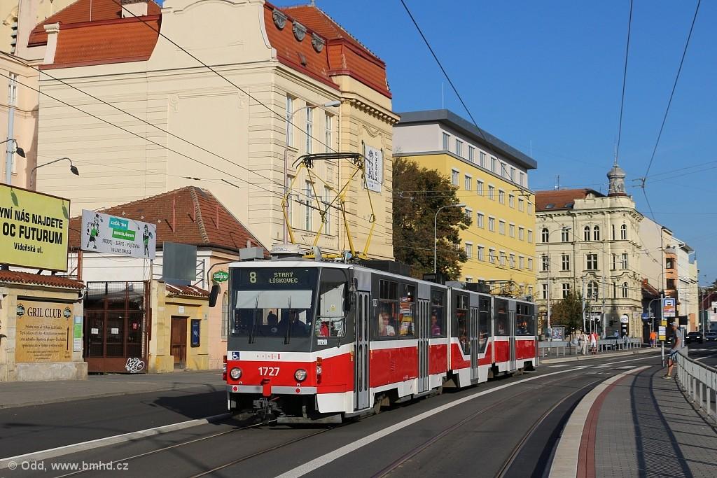 Fotogalerie » ČKD Tatra KT8D5R.N2 1727 | Brno | Trnitá | Křenová