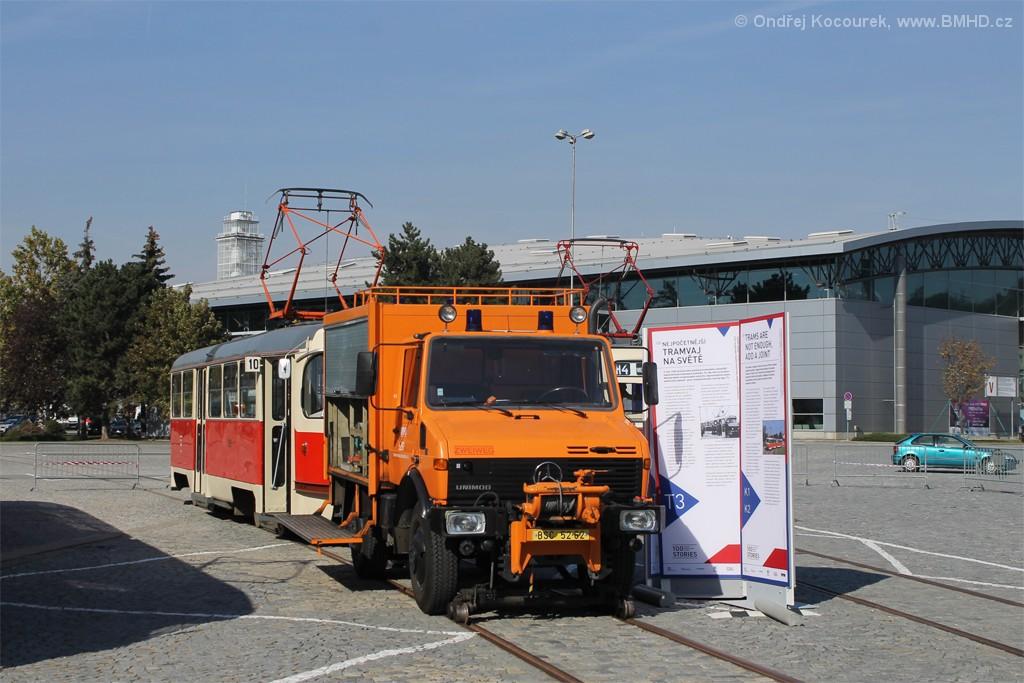 Fotogalerie » Mercedes-Benz Unimog U 1250 Zweiweg BSC 52-62 5297 | ČKD Tatra T3 1525 | Brno | Pisárky | Výstaviště BVV