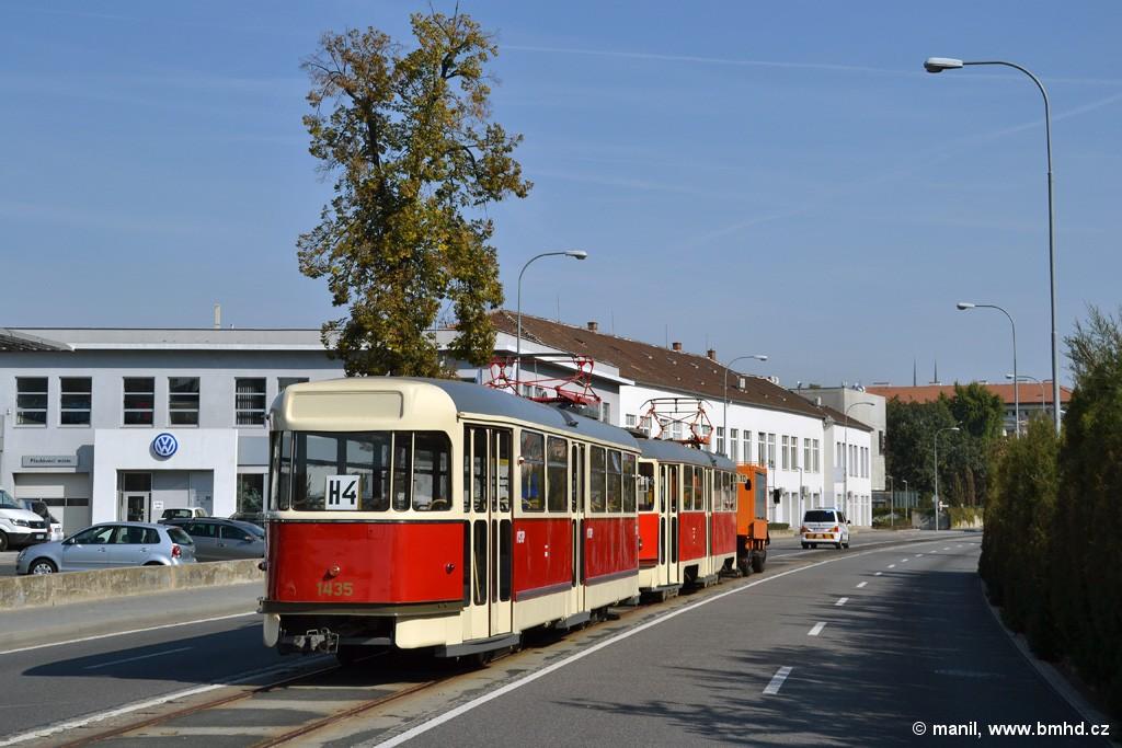 Fotogalerie » Tatra T2 1435 | ČKD Tatra T3 1525 | Brno | Staré Brno | Poříčí | Vlečka BVV