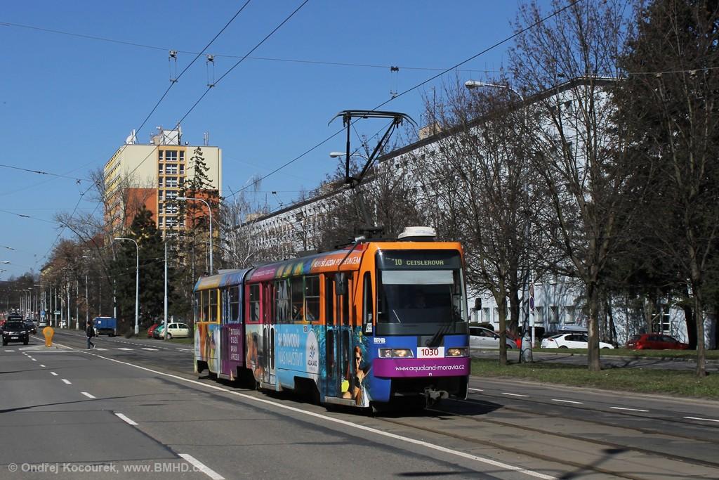 Fotogalerie » ČKD Tatra K2R03-P 1030 | Brno | Veveří | Kounicova