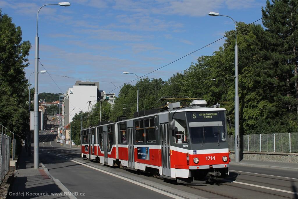 Fotogalerie » ČKD Tatra KT8D5R.N2 1714 | Brno | Černá Pole | Milady Horákové