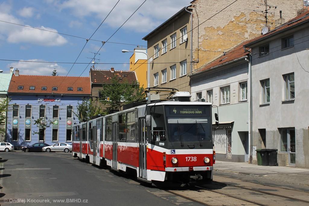 Fotogalerie » ČKD Tatra KT8D5R.N2 1738 | Brno | Husovice | Dačického