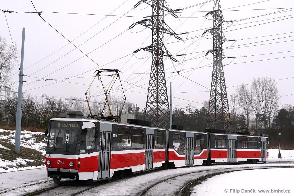 Fotogalerie » ČKD Tatra KT8D5R.N2 1710 | Brno | Starý Lískovec | Starý Lískovec, smyčka