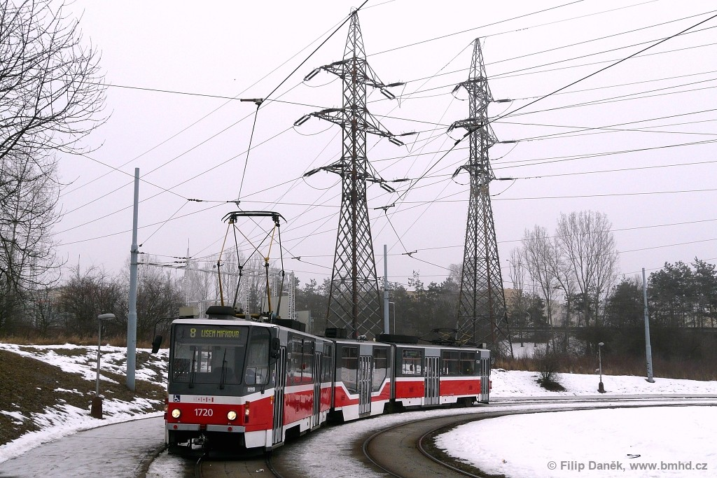 Fotogalerie » ČKD Tatra KT8D5R.N2 1720 | Brno | Starý Lískovec | Starý Lískovec, smyčka