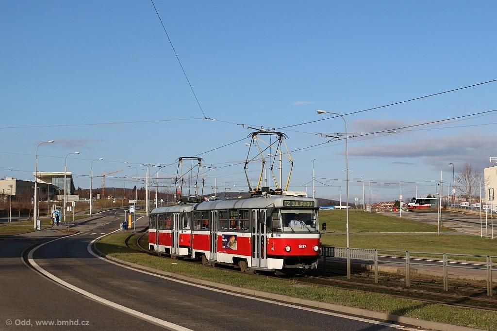 Fotogalerie » ČKD Tatra T3G 1637 | ČKD Tatra T3G 1638 | Brno | Medlánky | Purkyňova