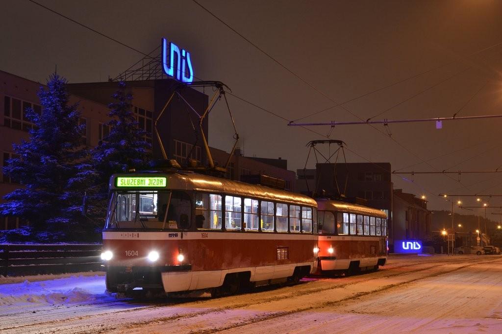Fotogalerie » ČKD Tatra T3G 1604 | ČKD Tatra T3G 1619 | Brno | Komín | Jundrovská | Komín, smyčka
