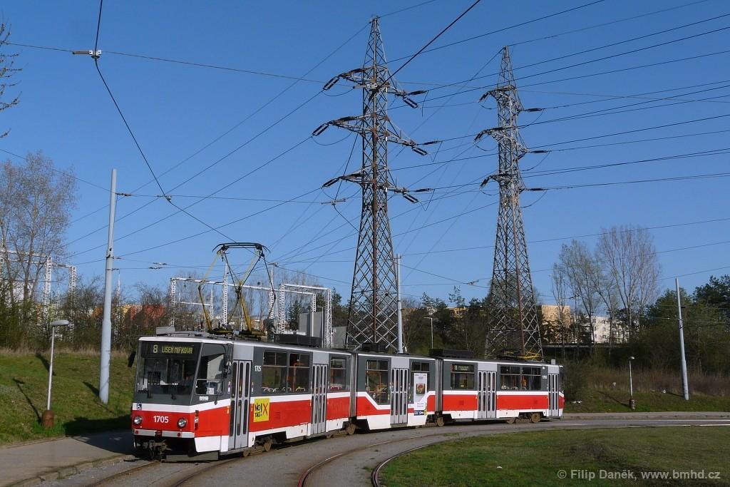 Fotogalerie » ČKD Tatra KT8D5R.N2 1705 | Brno | Starý Lískovec | Starý Lískovec, smyčka