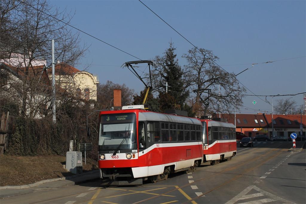 Fotogalerie » ČKD Tatra T3R 1663 | ČKD Tatra T3R 1664 | Brno | Žabovřesky | Rosického náměstí