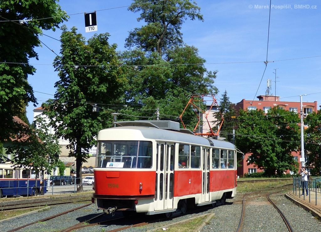 Fotogalerie » ČKD Tatra T3M 1594 | Brno | Pisárky | Hlinky | Výstaviště, hlavní vstup