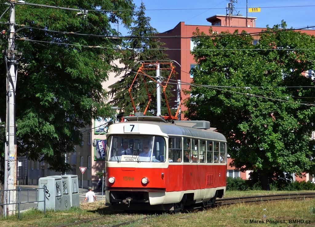 Fotogalerie » ČKD Tatra T3M 1594 | Brno | Pisárky | Hlinky