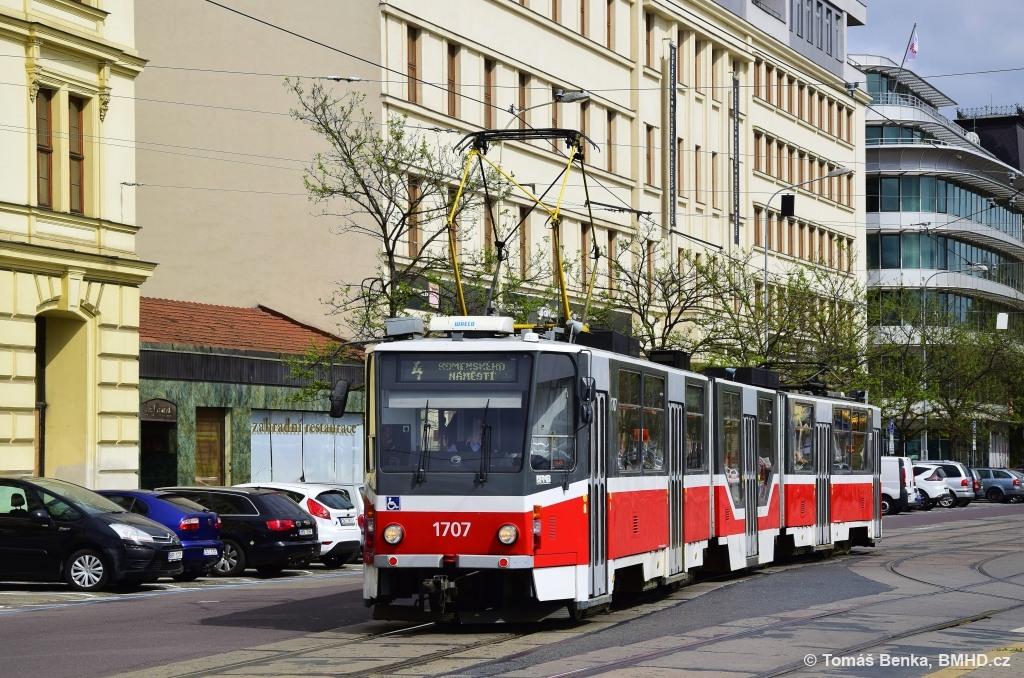 Fotogalerie » ČKD Tatra KT8D5R.N2 1707 | Brno | střed | Benešova
