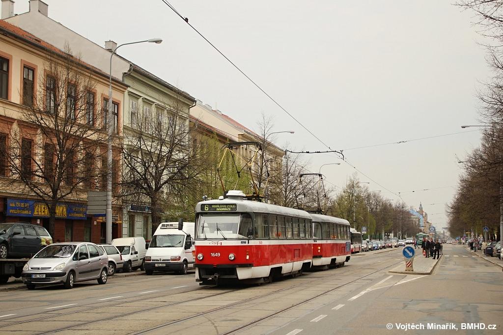 Fotogalerie » ČKD Tatra T3G 1649 | ČKD Tatra T3G 1650 | Brno | Ponava | Štefánikova