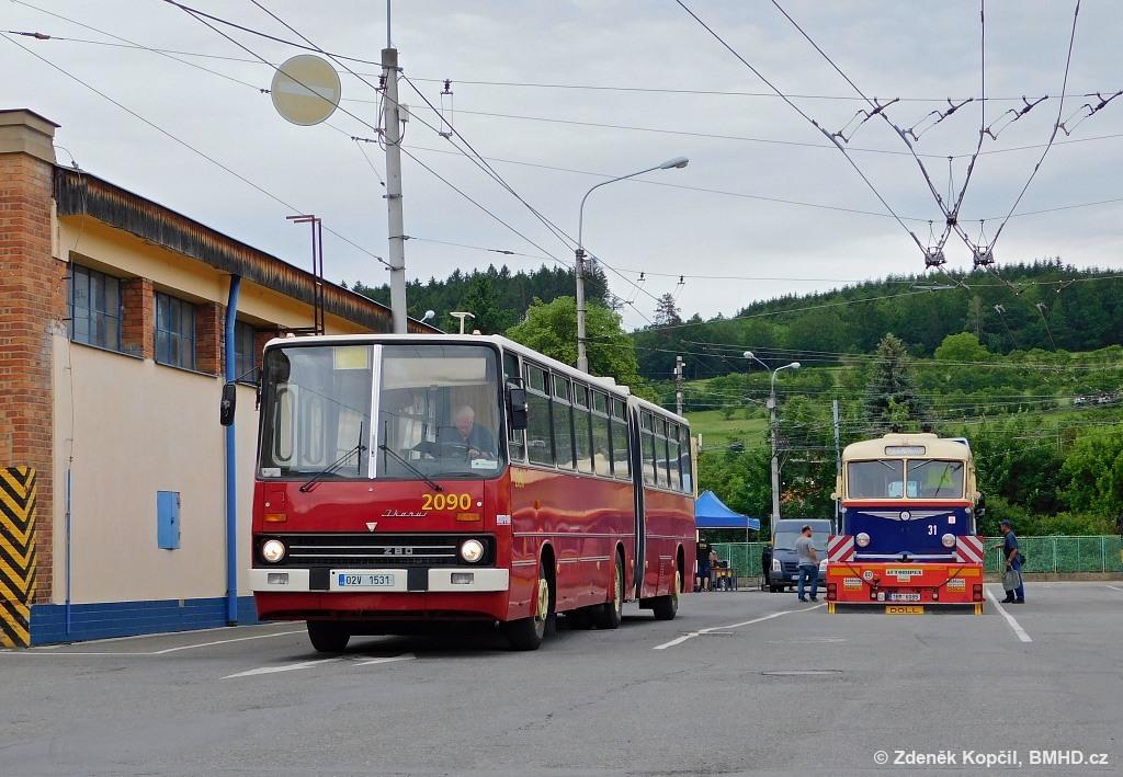 Fotogalerie » Ikarus 280.08 02V 1531 2090 | Škoda 7Tr4 31 | Zlín | Podvesná | Podvesná XVII | Vozovna DSZO