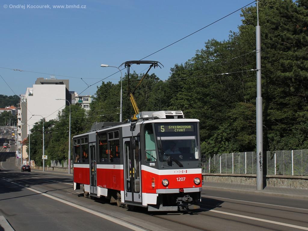 Fotogalerie » ČKD DS T6A5 1207 | Brno | Černá Pole | Milady Horákové