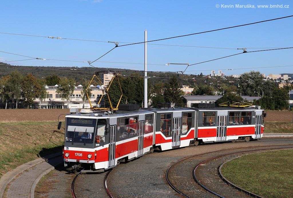 Fotogalerie » ČKD Tatra KT8D5R.N2 1708 | Brno | Medlánky | Purkyňova | Technologický park, smyčka