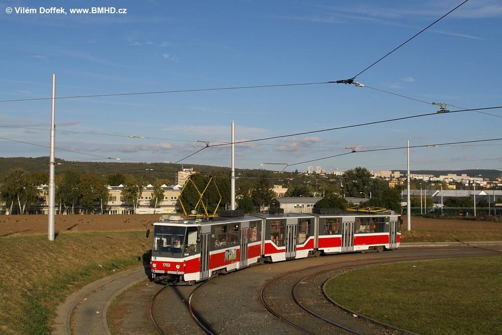 Fotogalerie » ČKD Tatra KT8D5R.N2 1702 | Brno | Medlánky | Purkyňova | Technologický park, smyčka