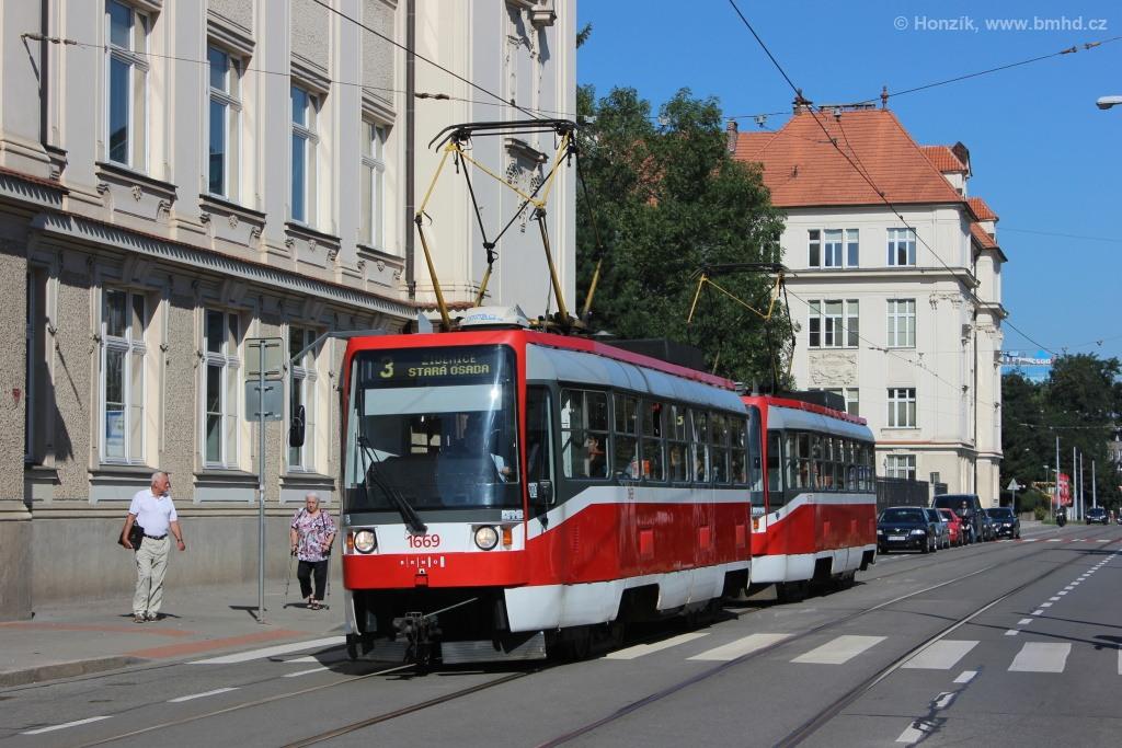 Fotogalerie » ČKD DS T3RF 1669 | ČKD DS T3RF 1670 | Brno | střed | Veveří | Rybkova
