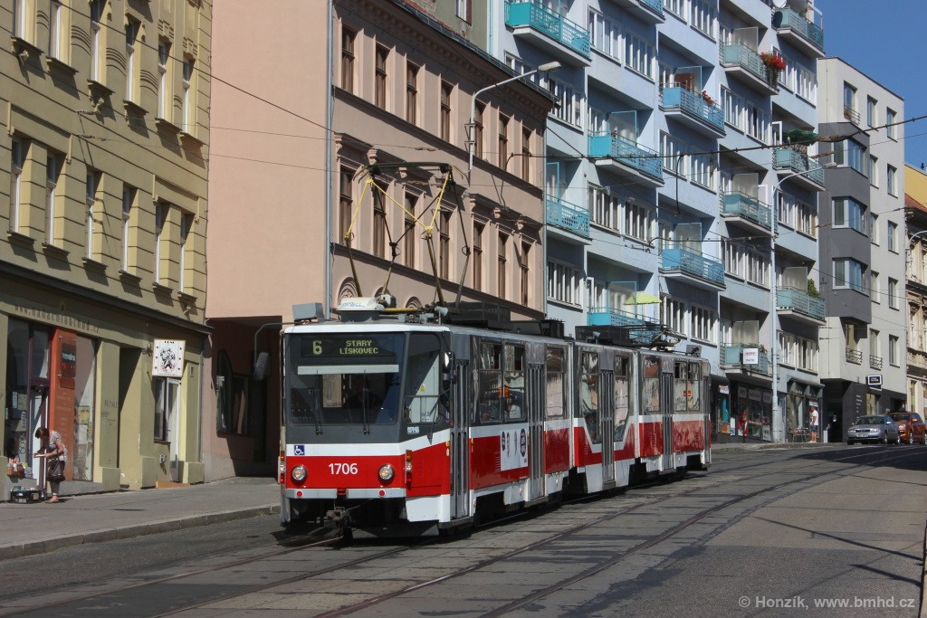 Fotogalerie » ČKD Tatra KT8D5R.N2 1706 | Brno | Staré Brno | Pekařská