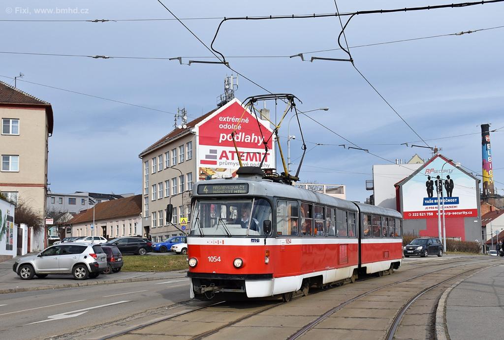 Fotogalerie » ČKD Tatra K2T 1054   Brno   Husovice   Tomkovo náměstí
