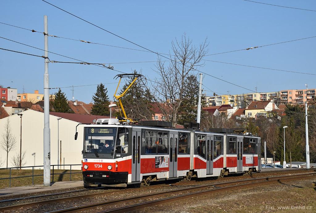 Fotogalerie » ČKD Tatra KT8D5N 1734 | Brno | Bohunice